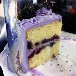 Made from scratch Blackberry Lavender Cake from Fabiana's Bakery.