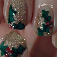 Christmas-nail-art-glitter-holly-china-glaze-champagne-kisses