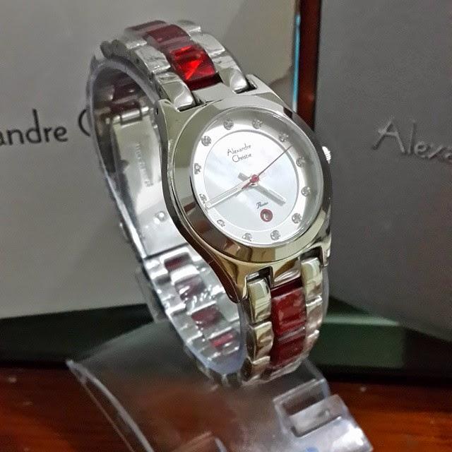 jam tangan alexandre christie 2477merah silver