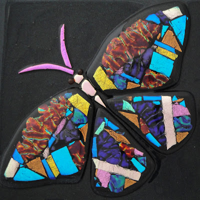 Fused Glass Dichroic Butterfly on a Pool of Aventurine Blue Color Quilt Flutterbybutterfly Flutterbyfoto