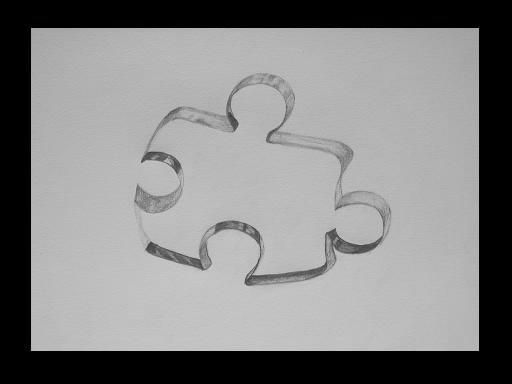 Transparent piece of jigsaw puzzle.