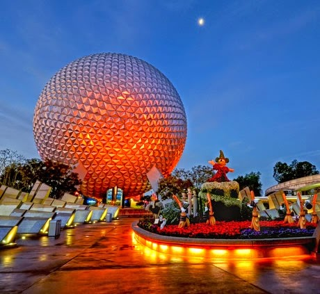 EPCOT Center's future world at night