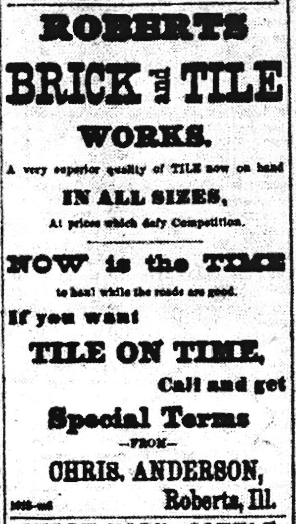 Roberts Brick & Tile Works 1884 Ad