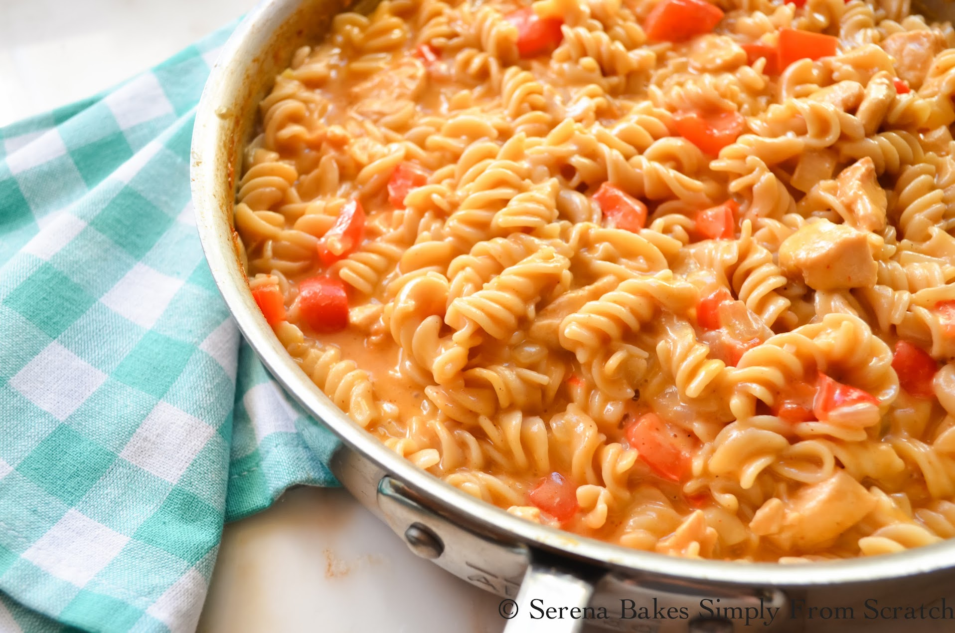 One Skillet Chicken Macaroni and Cheese