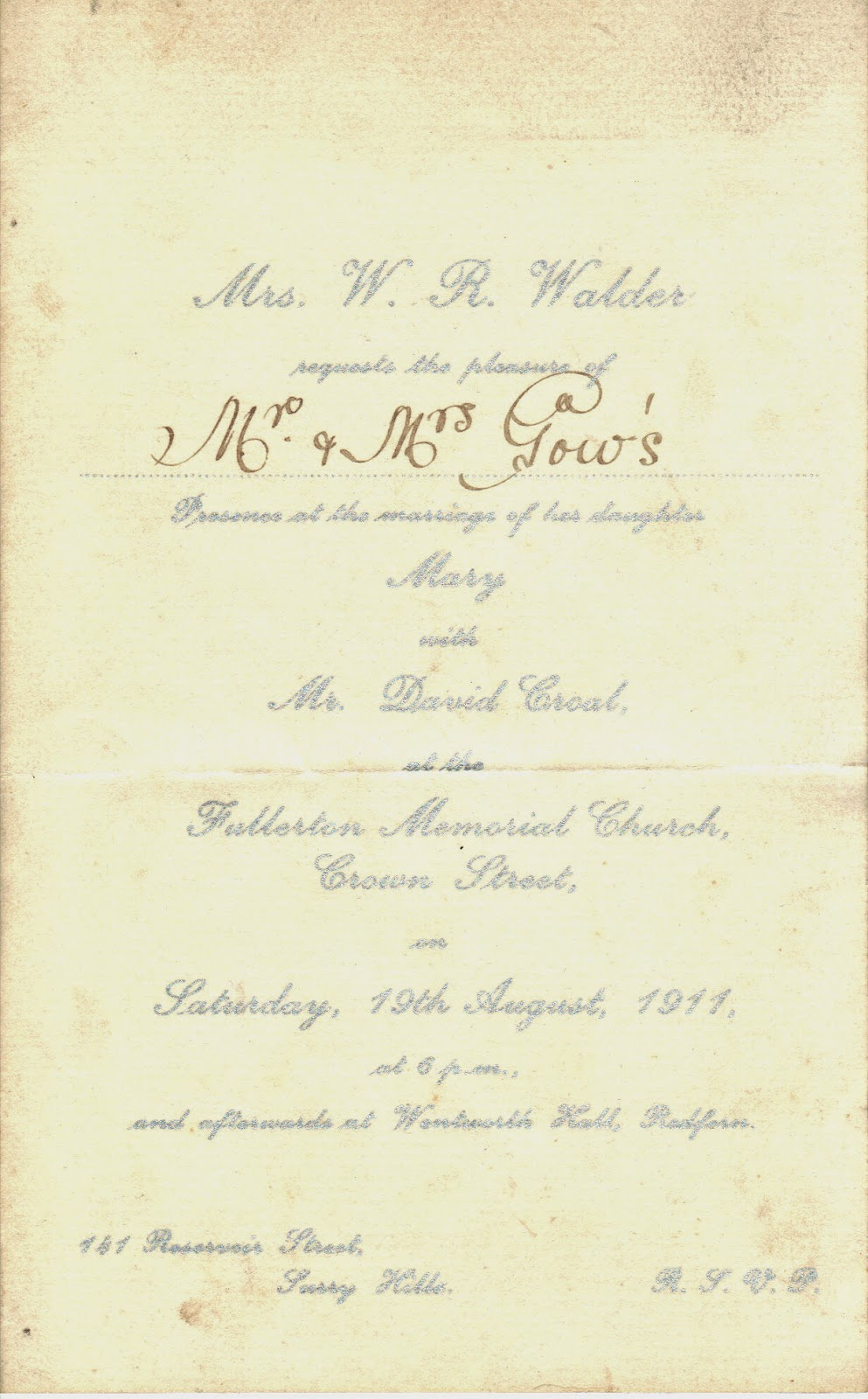 Genealogically Speaking.: Collection of Wedding Invitations