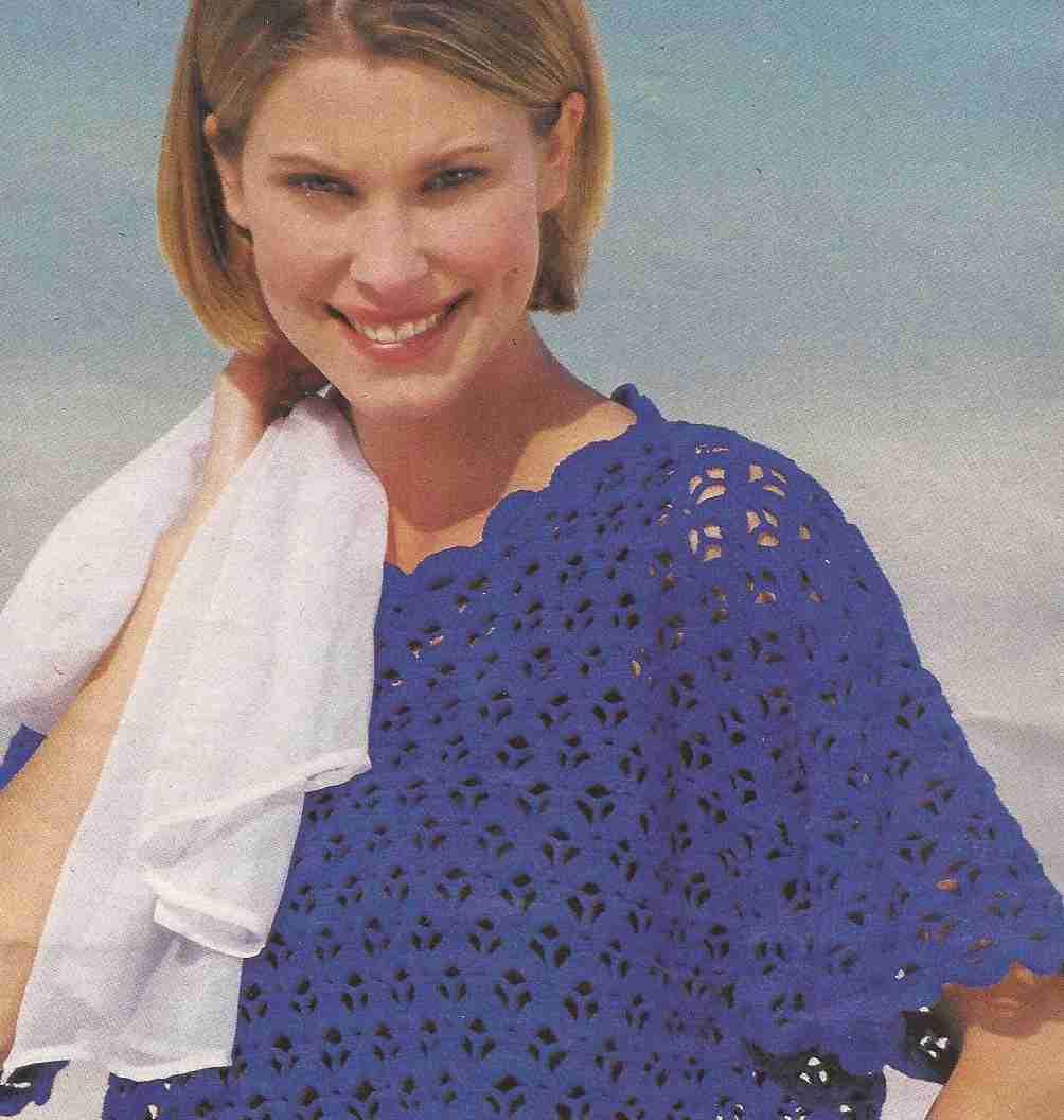 Blusa azul a Crochet