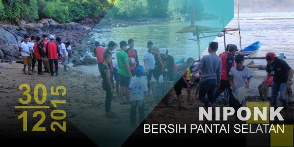 NIPONK. Kegiatan Bersih Pantai Selatan Sukses, Dinas Pariwisata Menyumbang 3 Kardus Air Mineral