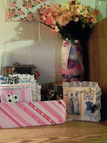 Collage Jar with Flowers on Display and mini album from 1st swap done