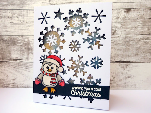 Sunny Studio Bundled Up Penguin Holiday Christmas Card by Nikosinas.