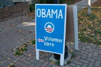 Wegweiser zum Obama-Wahlbüro in Ann Arbor © Cornelia Schaible