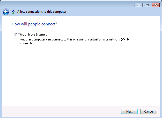 how to create a vpn using windows 7