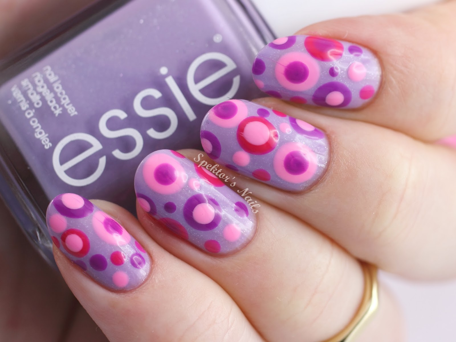 Pink And Purple Gel Nail Designs Pink Purple Dotted Nails