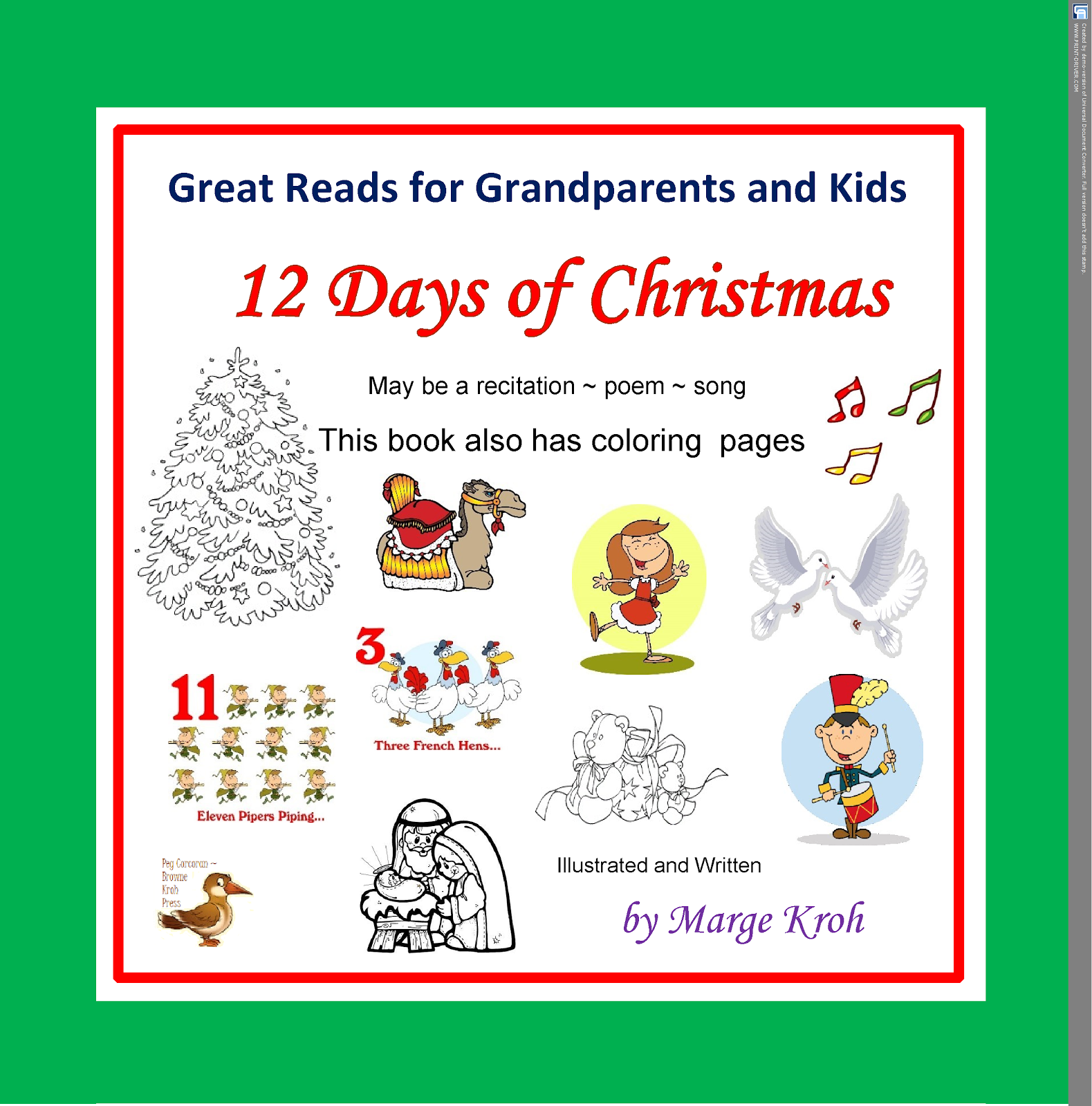 """12 Days of Christmas"" with song and coloring pages."