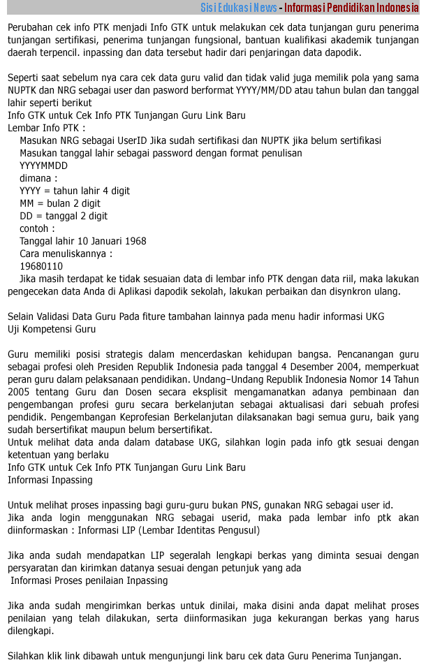Info GTK  Link Baru untuk Cek Info PTK Tunjangan Guru