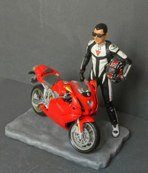 statuina topper cake a tema moto motociclisti statuette orme magiche