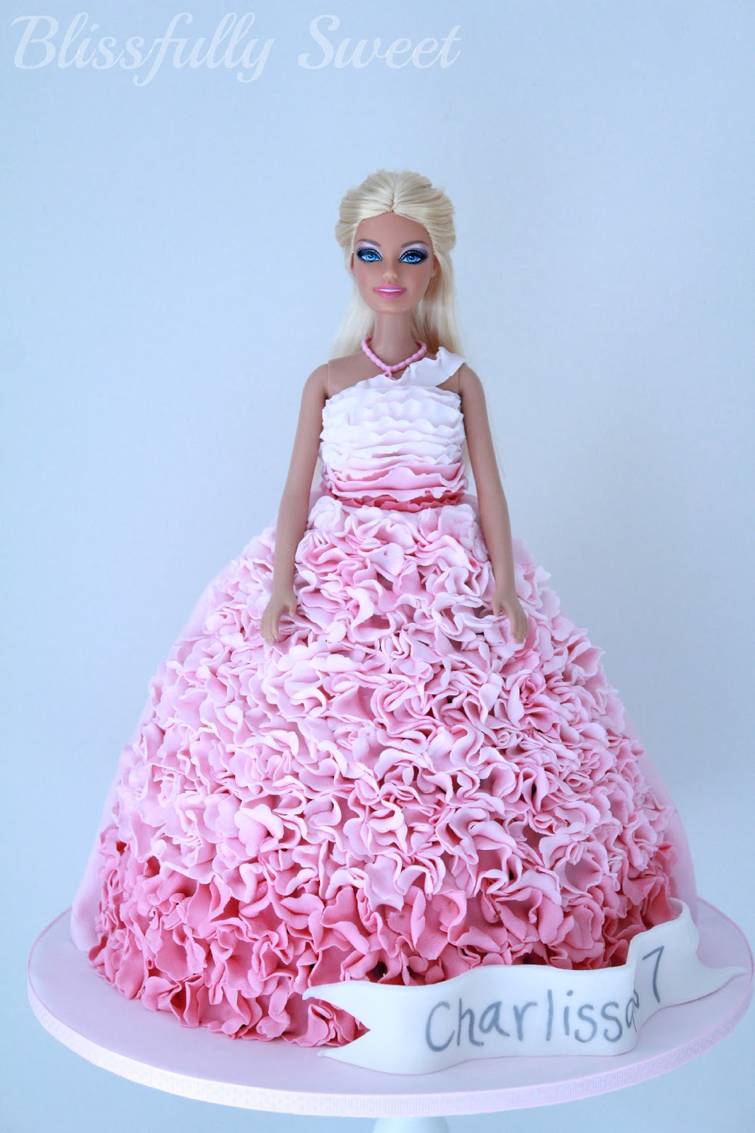 Images Of Barbie Birthday Cake : Blissfully Sweet: An Ombre Pink Ruffled Barbie Birthday Cake