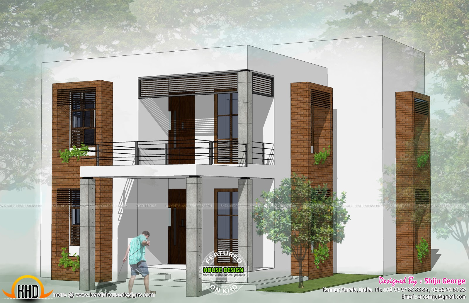 2 house exteriors in 2d kerala home design and floor plans for Flat roof plan drawing