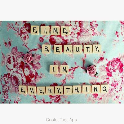 """Find beauty in everything."" QuotesTagsApp"