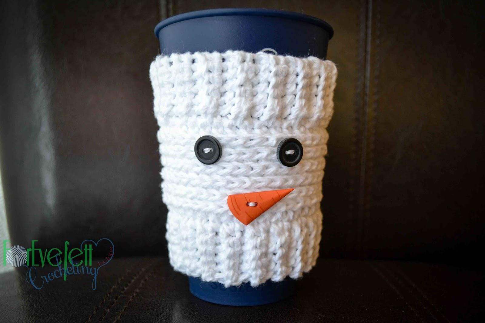 ForeverettCrocheting: Free Snowman Cup Cozy Crochet Pattern