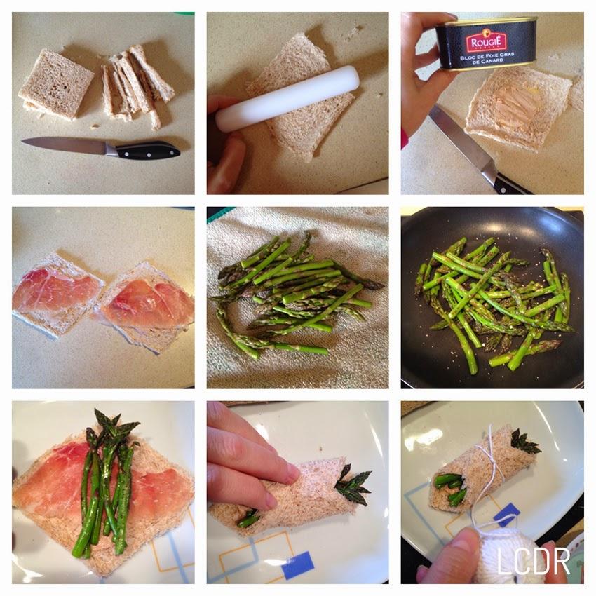 Receta de pañuelos de foie, jamón y trigueros 01