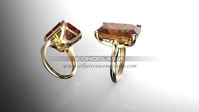 Diseño de anillo de oro y topacio en 3D