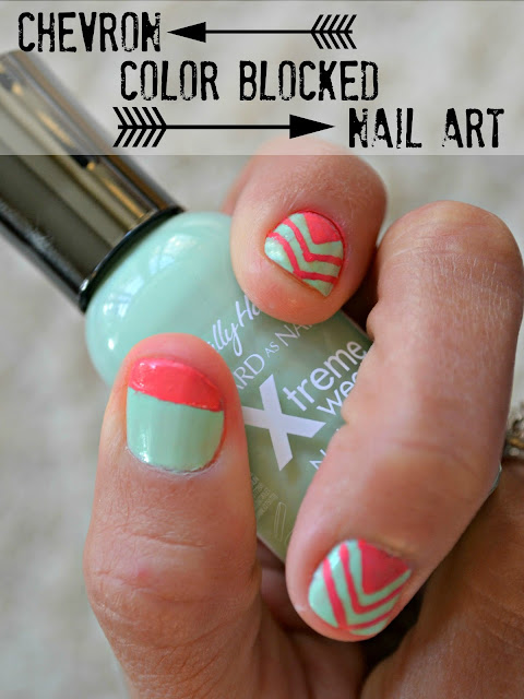 Mommy Testers Sally Hansen Color Block and chevron nail art  #IHeartMyNailArt #cbias