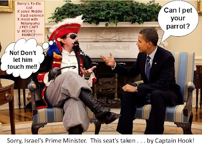 Sorry, Israel's Prime Minister. This seat's taken... by Captain Hook!