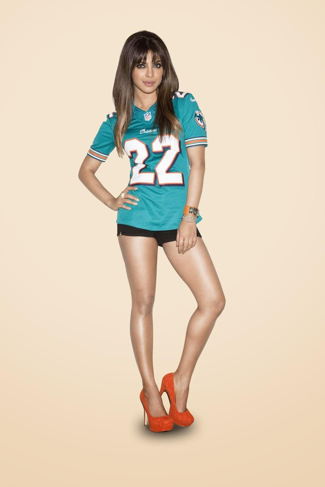 Priyanka Chopra Posing in Blue NFL Jersey