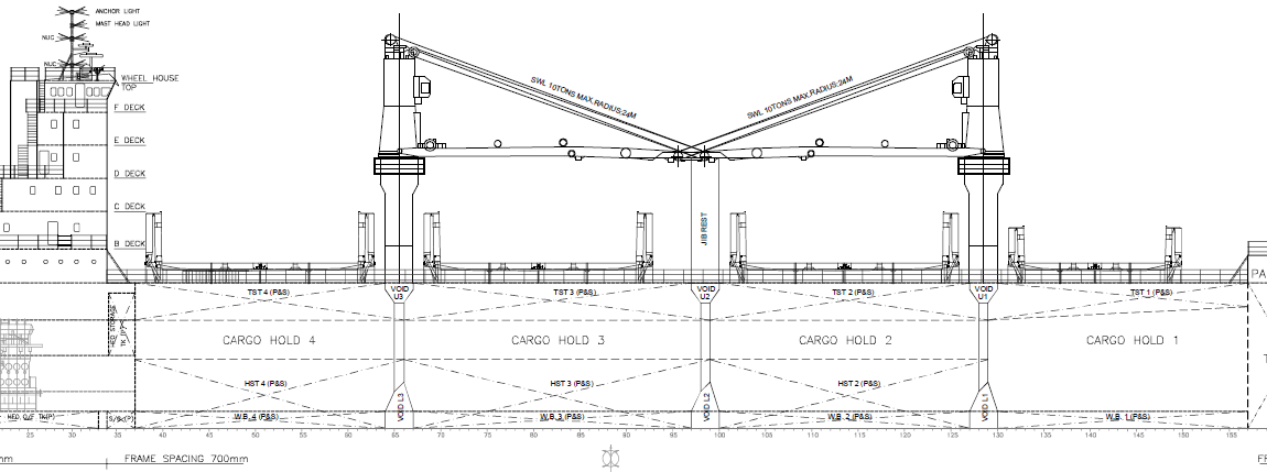 Learn ship design bulk carriers a detailed synopsis cargo handling arrangement on a bulk carrier with 4 cargo holds note how one derrick is used to operate on two holds malvernweather Gallery