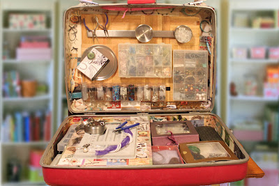 Recycled crafts:  finished repurposed suitcase