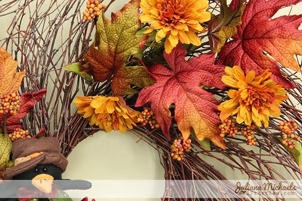 2 Blackbirds Autumn Wreath by Juliana Michaels detail