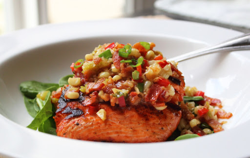 Grilled Salmon with Warm Bacon and Corn Relish – It a Noun and a Verb