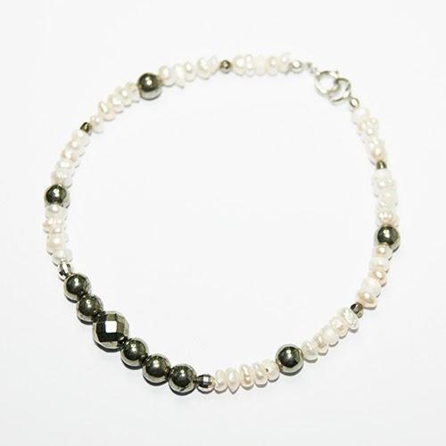 Handmade Pyrite & Pearl Bracelet, designer jewellery | Objets de Désir