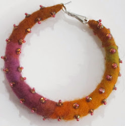 FREE TUTORIAL!  Felted Hoop Earring with Swarovski Crystal