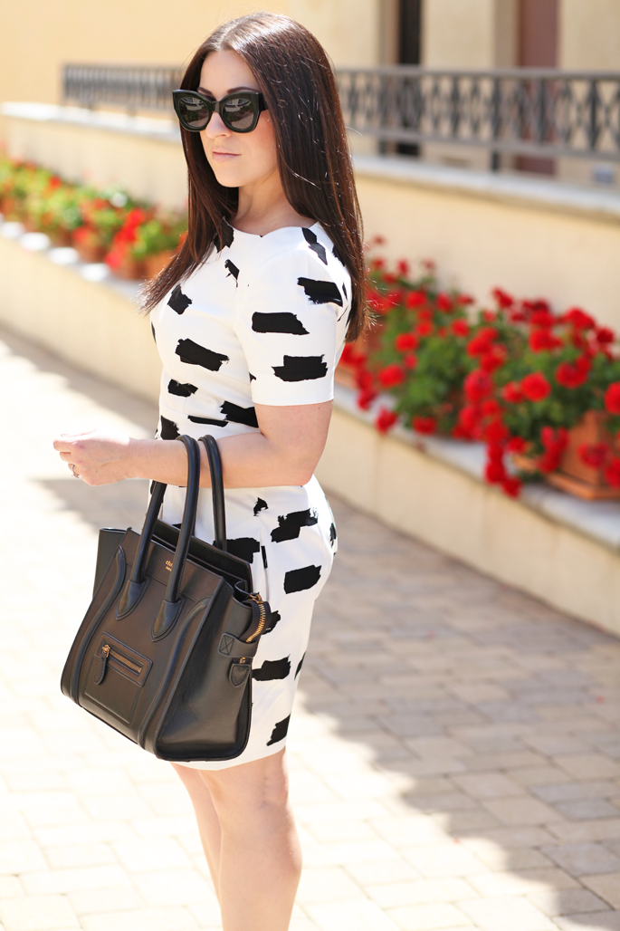 mac-creme-d'nude-black-and-white-french-connection-dress-king-and-kind-san-diego-blogger-celine-tote-spring-dress-ideas-karen-walker-sunglasses
