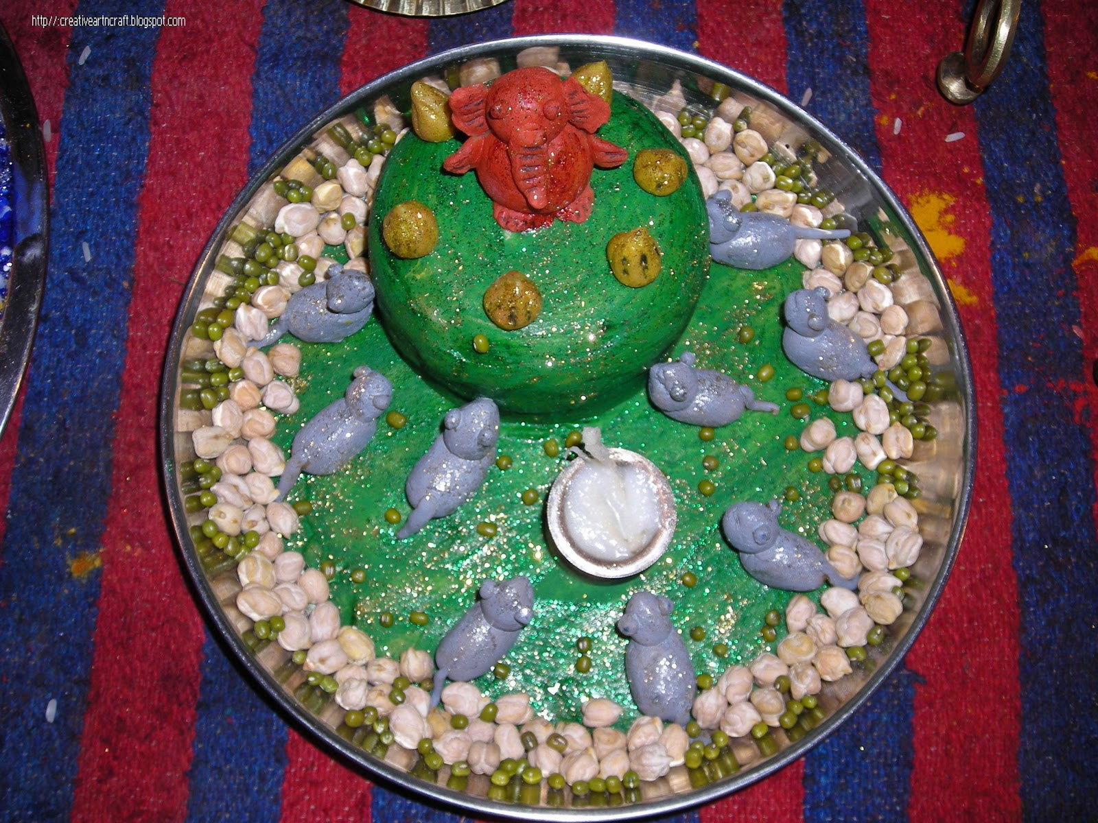 Anu 39 s art and crafts pooja thali decoration for Aarti thali decoration