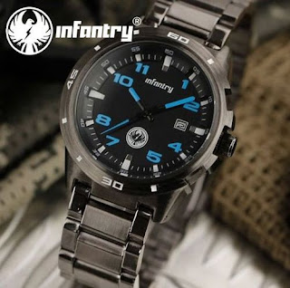Elegant Sports INFANTRY BLUE Numbers Royale Mens Stainless Steel Strap Watch
