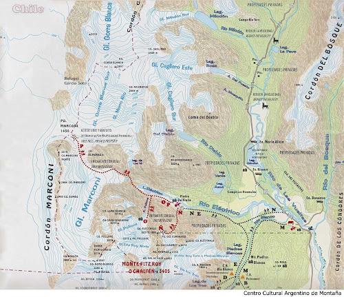 Mapa das trilhas de El Chaltén - Patagônia Argentina