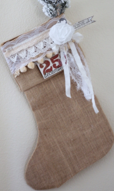 SRM Stickers Blog - Burlap Stocking with Lace by Shantaie - #christmas #stocking #burlap #vintage, #stickers #lace #shimmertwine #twine #altered #DIY