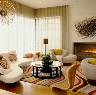 Diseño de sala estar retro, con muebles curvos