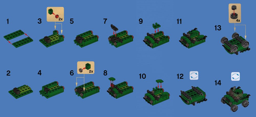 Philippine Bricksters Lego Build Tip Green Jeep Editions