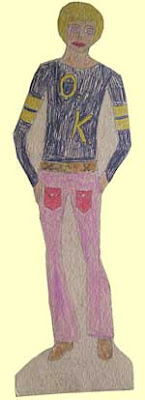 Handmade male paper doll, crayon on cardboard