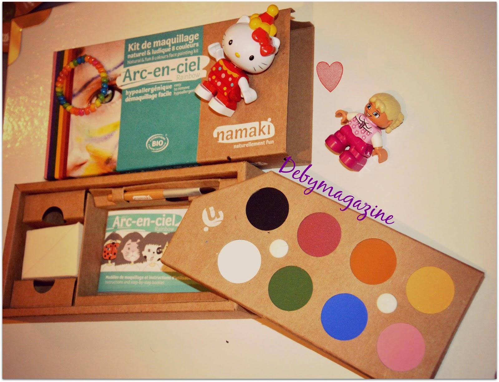 kit de maquillage pour en enfant bio, arc-en-ciel