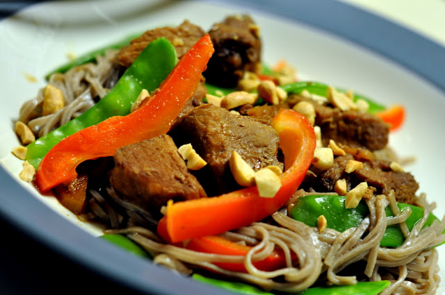 Slow-Cooker Asian Pork over Soba Noodles with Bell Peppers and Snow Peas | Taste As You Go