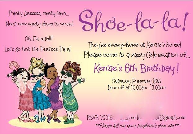 JAKEs Place Shoelala Kenzie turned 6 – Shoe Party Invitations