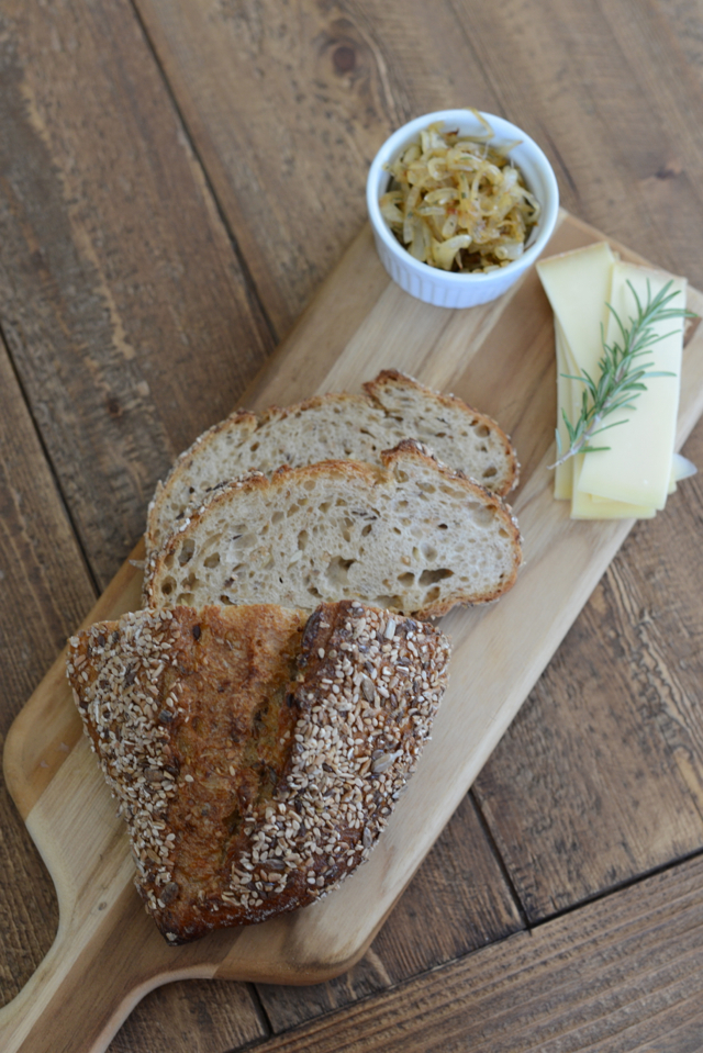 ingredients for apple, gruyere, and golden onion grilled cheese sandwich via M Loves M @marmar