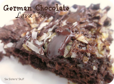 German Chocolate Lava Cake made with cake mix