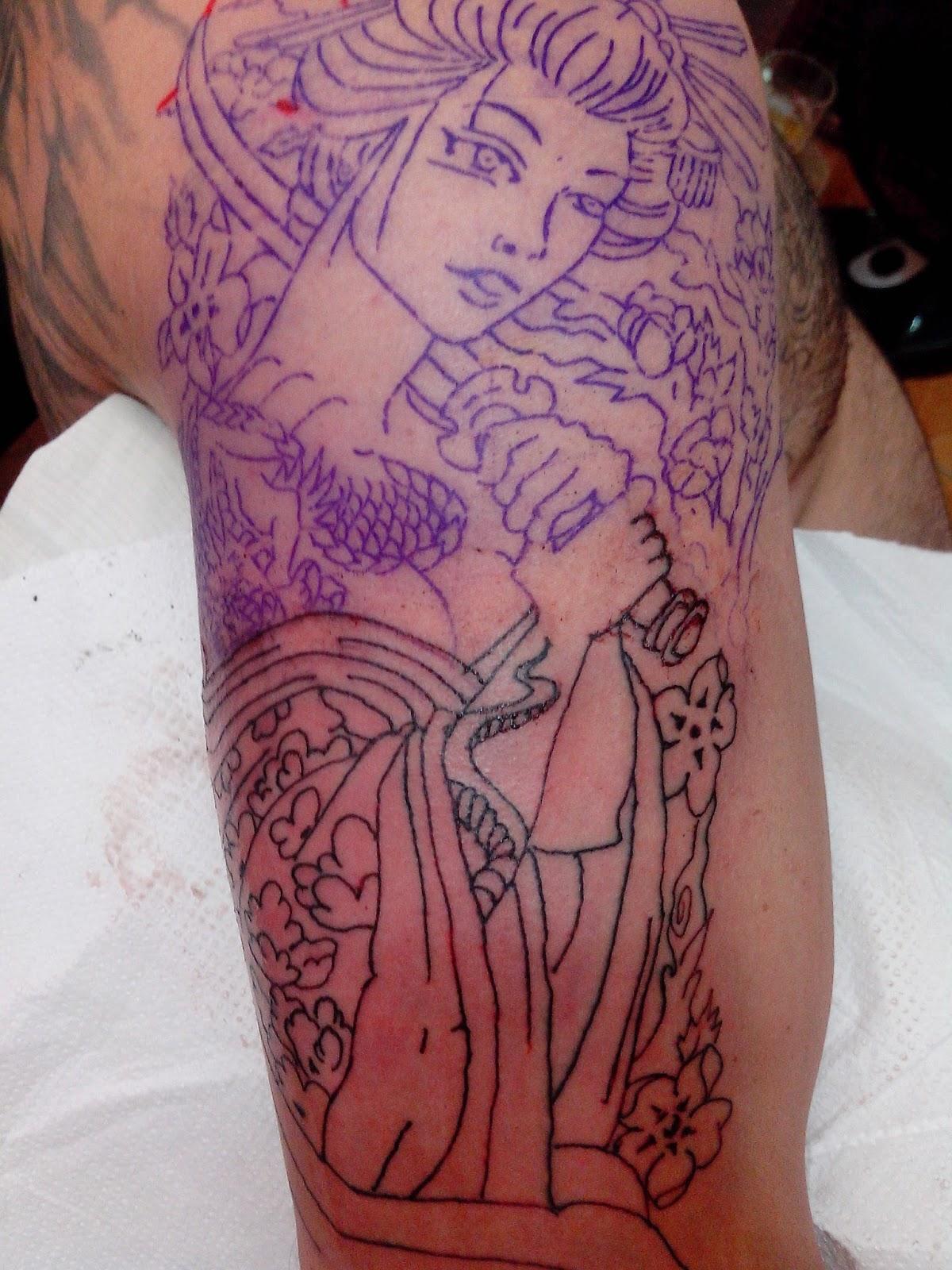Tattoo no braco gueixa