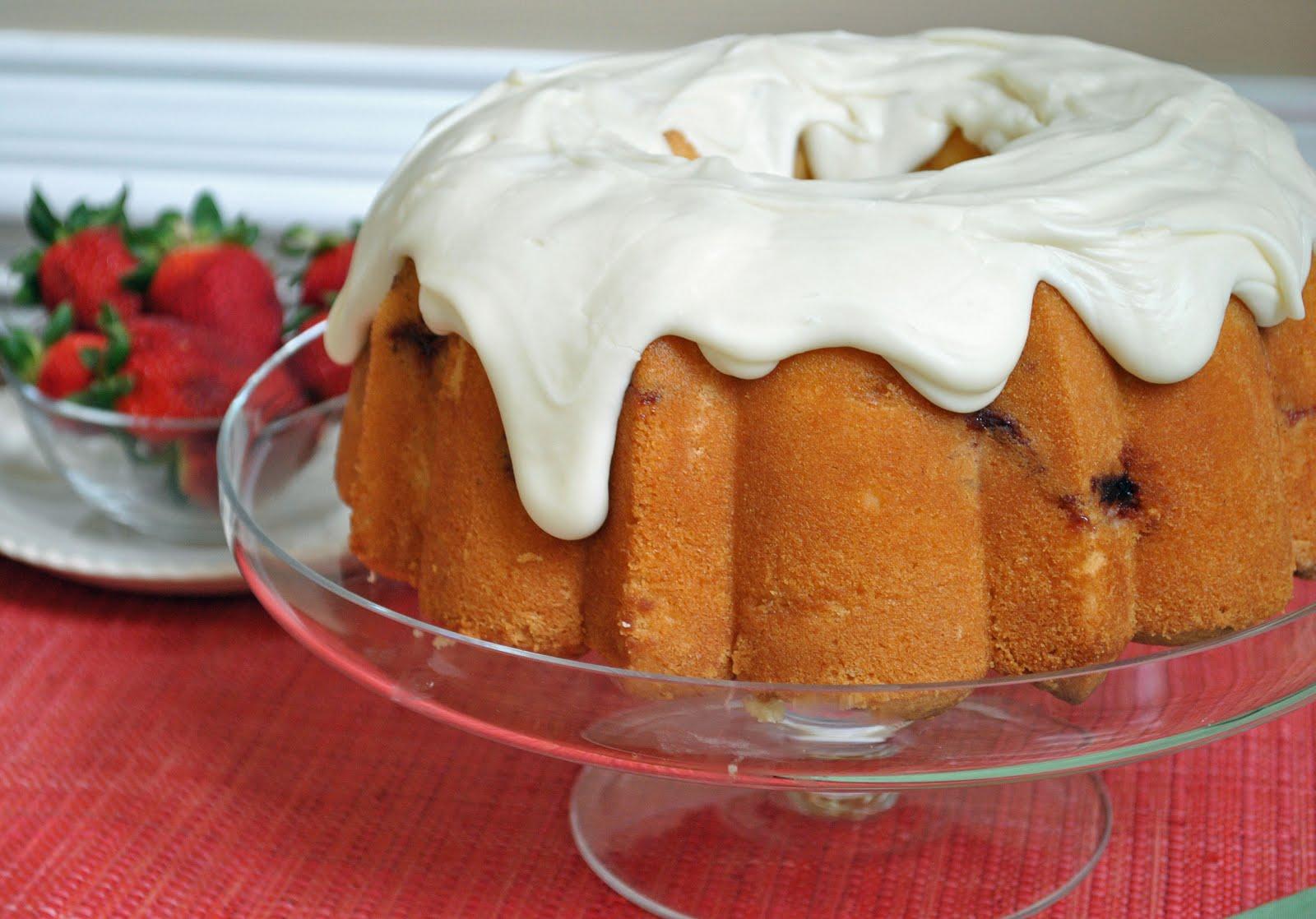 Ryan Bakes Strawberry Pound Cake With Cream Cheese Glaze
