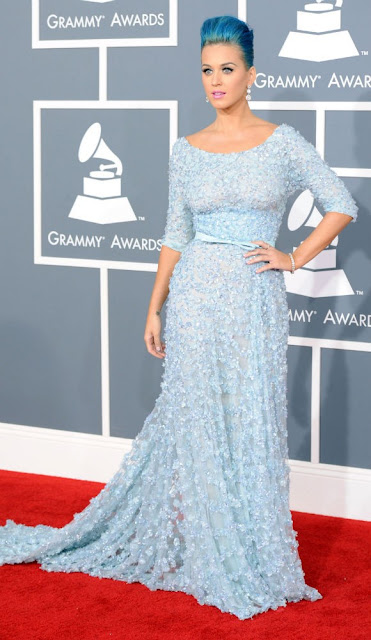 katy perry, style crush, grammys dress, red carpet, blue dress